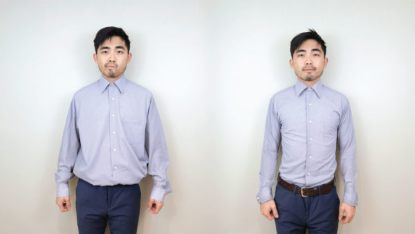 Fast, frugal tailoring of a thrift store dress shirt.